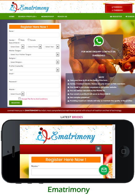 Matrimony Website Script, Matchmaking Software India, Mobile